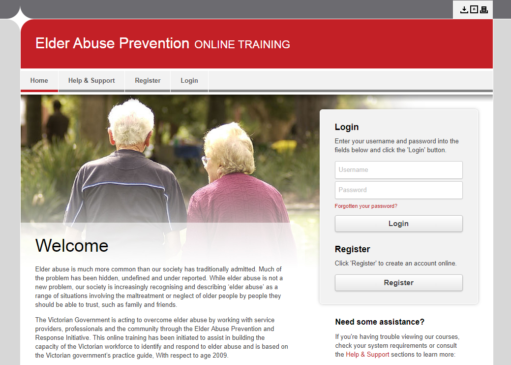 Elder abuse prevention online course